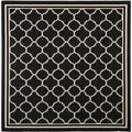 Safavieh Indoor/ Outdoor Courtyard Bordered Black/ Beige Rug (5'3'' Square)