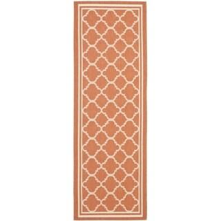 Safavieh Indoor/ Outdoor Courtyard Terracotta/ Bone Rug (2'3 x 8')