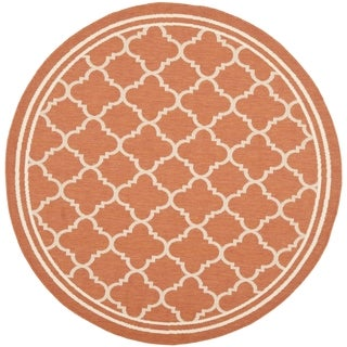 Safavieh Indoor/ Outdoor Courtyard Terracotta/ Bone Rug (7'10 Round)