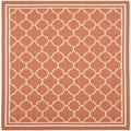 Safavieh Indoor/ Outdoor Courtyard Terracotta/ Bone Rug (7'10 Square)
