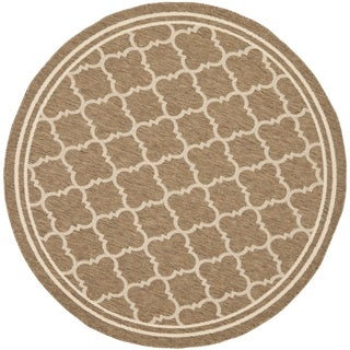 Safavieh Indoor/ Outdoor Courtyard Brown/ Bone Rug (7'10 Round)
