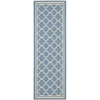 Safavieh Indoor/ Outdoor Courtyard Blue/ Beige Runner Rug (2'3 x 20')