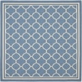 Safavieh Indoor/ Outdoor Courtyard Blue/ Beige Rug (5'3 Square)