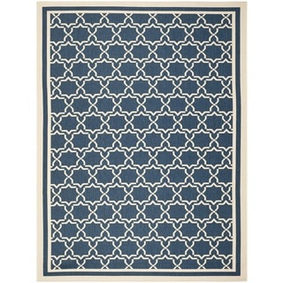 Safavieh Indoor/ Outdoor Courtyard Navy/ Beige Rug (9' x 12')