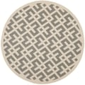 Safavieh Indoor/ Outdoor Courtyard Grey/ Bone Rug (7'10 Round)