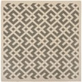 Safavieh Indoor/ Outdoor Courtyard Grey/ Bone Rug (7'10 Square)
