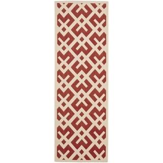 Safavieh Indoor/ Outdoor Courtyard Red/ Bone Rug (2'4 x 14')