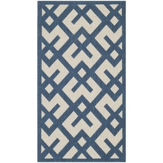 Abstract Safavieh Indoor/Outdoor Courtyard Navy/Beige Rug (2'7 x 5')