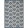 Safavieh Indoor/ Outdoor Courtyard Crisscross Pattern Navy/ Beige Rug (4' x 5'7'')