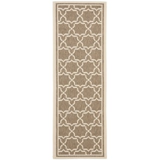 Safavieh Indoor/ Outdoor Courtyard Brown/ Bone Rug (2'4 x 12')
