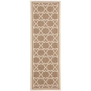 Safavieh Indoor Outdoor Courtyard Brown Bone Runner Rug 2