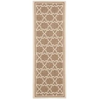"""Safavieh Indoor/Outdoor Courtyard Brown/Bone Runner Rug (2'4"""" x 14')"""