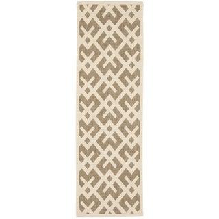 Safavieh Indoor/ Outdoor Courtyard Brown/ Bone Rug (2'4 x 14')