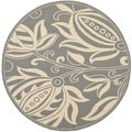 "Safavieh Indoor/Outdoor Courtyard Gray/Natural Floral Rug (7'10"" Round)"