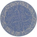 Safavieh Indoor/ Outdoor Courtyard Contemporary Blue/ Natural Rug (7'10 Round)