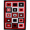 Hand-carved Modern Contemporary Boxes Black/ Red Area Rug (7'10 x 9'10)