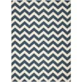 Safavieh Chevron Indoor/Outdoor Courtyard Navy/Beige Rug (6'7 x 9'6)