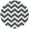 "Safavieh Power-Loomed Indoor/Outdoor Courtyard Navy/Beige Rug (5'3"" Round)"