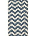 Safavieh Chevron-Print Indoor/Outdoor Courtyard Navy/Beige Rug (4' x 5'7)