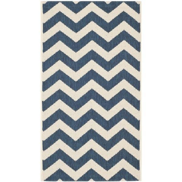 """Safavieh Indoor/ Outdoor Courtyard Zigzag-pattern Navy/ Beige Rug (2' x 3'7"""")"""