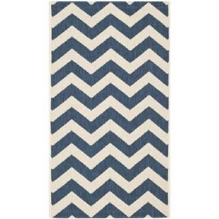 Safavieh Indoor/ Outdoor Courtyard Zigzag-pattern Navy/ Beige Rug (2' x 3'7'')