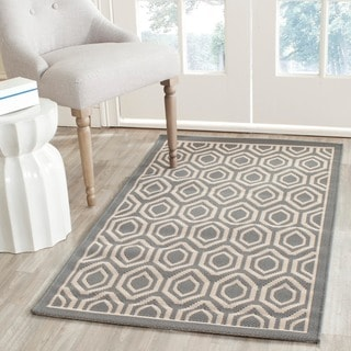 "Safavieh Courtyard Anthracite/Beige Geometric Pattern Indoor/Outdoor Rug (4' x 5'7"")"