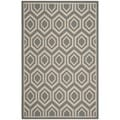 "Safavieh Courtyard Anthracite/Beige Indoor/Outdoor Geometric Pattern Rug (5'3"" x 7'7"")"