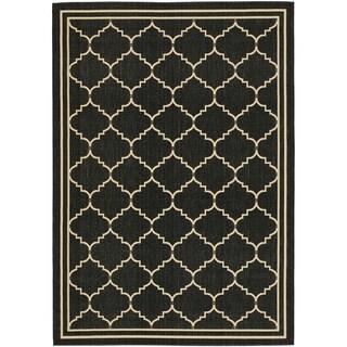 Safavieh Indoor/ Outdoor Courtyard Black/ Cream Rug (4' x 5'7)
