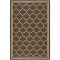 Safavieh Indoor/ Outdoor Courtyard Chocolate/ Cream Rug (5'3 x 7'7)