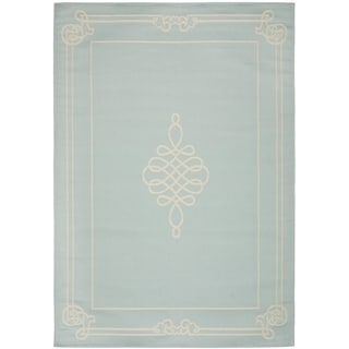 Safavieh Indoor/ Outdoor Courtyard Aqua/ Cream Rug (6'7 x 9'6)