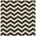 Safavieh Indoor/ Outdoor Courtyard Chevron-pattern Black/ Beige Rug (5'3'' Square)