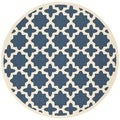 "Safavieh Indoor/Outdoor Courtyard Navy/Beige Polypropylene Rug (5'3"" Round)"