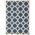 Polypropylene Indoor/Outdoor Courtyard Navy/Beige Rug (6'7 x 9'6)