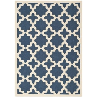 Safavieh Indoor/Outdoor Abstract Courtyard Navy/Beige Rug (4' x 5'7)