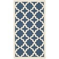 Geometric Safavieh Indoor/Outdoor Courtyard Navy/Beige Rug (2'7 x 5')