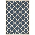 Geometric Safavieh Indoor/Outdoor Courtyard Navy/Beige Rug (5'3 x 7'7)