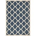 Patterned Safavieh Indoor/Outdoor Courtyard Navy/Beige Rug (6'7 x 9'6)