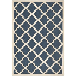 Polypropylene Safavieh Indoor/Outdoor Courtyard Navy/Beige Rug (4' x 5'7)