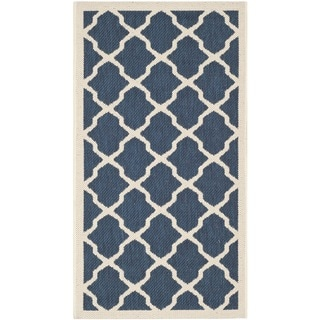 Safavieh Modern Indoor/Outdoor Courtyard Navy/Beige Rug (2'7 x 5')