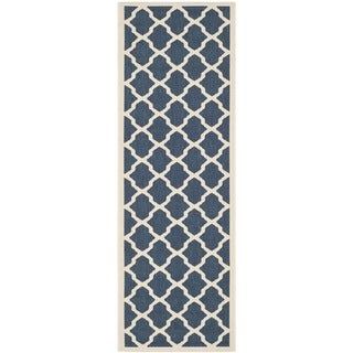 Dhurrie-Style Safavieh Indoor/Outdoor Navy/Beige Rug (2'3 x 10')