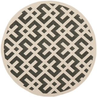 Safavieh Indoor/Outdoor Courtyard Black/Beige Bordered Rug (7'10 Round)