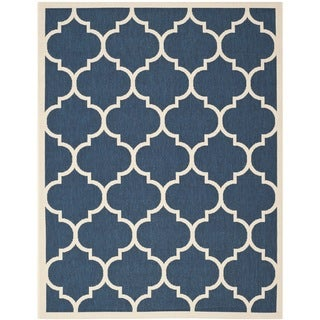 Safavieh Indoor/Outdoor Courtyard Navy/Beige Dhurrie-Style Rug (9' x 12')