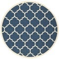 Safavieh Indoor/ Outdoor Courtyard Navy/ Beige Rug (6'7 Round)