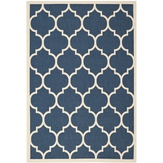 Safavieh Indoor/Outdoor Courtyard Navy/Beige Dhurrie Rug (6'7 x 9'6)