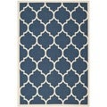 Safavieh Indoor/Outdoor Courtyard Dhurrie-Style Navy/Beige Rug (4' x 5'7)