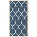 Safavieh Dhurrie Indoor/Outdoor Courtyard Navy/Beige Rug (2'7 x 5')