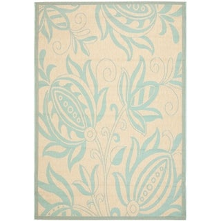 Safavieh Indoor/ Outdoor Courtyard Cream/ Aqua Rug (2'7 x 5')