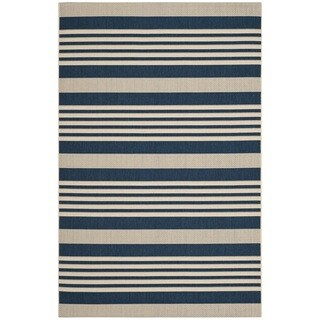 Safavieh Indoor/ Outdoor Courtyard Navy/ Beige Area Rug (6'7 x 9'6)