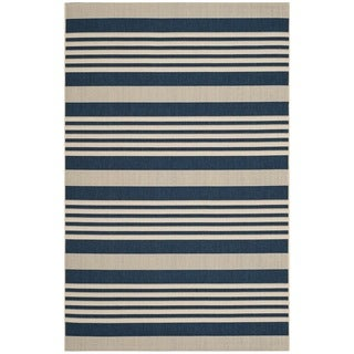 Safavieh Indoor/ Outdoor Courtyard Stripe-pattern Navy/ Beige Rug (5'3'' x 7'7'')