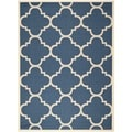 Safavieh Indoor/Outdoor Courtyard Dhurrie Navy/Beige Rug (9' x 12')